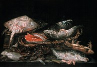 BEIJEREN: FISH.Canvas, c1650, by Abraham van Beijeren.