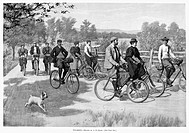 BICYCLE TOURISTS, 1896.A group of bicycle tourists enjoying a ride through the countryside. American newspaper illustration by Arthur Burdett Frost, 1...