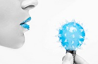 girl with the blue lipstick holding bulb. close_up face shoot