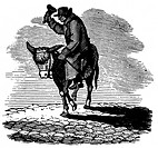 MAN RIDING A DONKEY.Wood engraving, early 19th century.