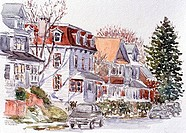 Treadwell Ave., Port Richmond, Staten Island, NY, 2001, Anthony Butera, b.20th C., Watercolor