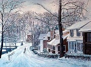 Homes, Brady's Pond, Snow, Staten Island, NY, 1988, Anthony Butera, b.20th C., Oil