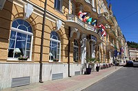 facade of hotels at Marienbad. Bohemian Forest, Czech Republic, Europe