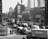 Traffic in a street, Canal Street, Manhattan, New York City, New York, USA