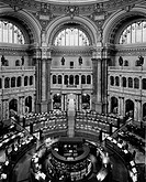 Interiors of a library, Main Reading Room, Library of Congress, Washington DC, USA