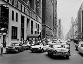 USA, New York City, Manhattan, 46th Street and Park Avenue looking North, traffic