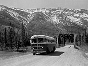 Canada, British Columbia, Dawsons Creek, Bus on Hart Highway