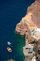 High angle view of boats in the sea, Ammoudi Port, Santorini, Cyclades Islands, Greece