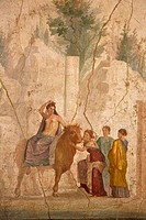 Europa riding Zeus disguised as bull, fresco from House of Jason, Italy, Naples, National Archeological Museum