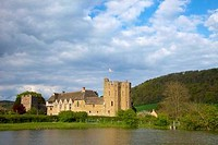 Castle at the riverside, Stokesay Castle, Stokesay, Craven Arms, Shropshire, England