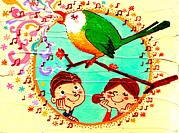 Illustration of two children admiring a bird singing