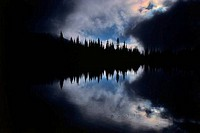 Reflection of trees in the lake, Reflection Lake, Mt Rainier National Park, Washington State, USA