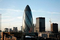 Office buildings in a city, Gherkin, City of London, London, England