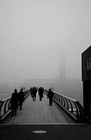 UK, London, Millennium Bridge with Tate Modern