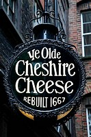 UK, London, City of London, Wine Office Court, Pub sign for Ye Olde Cheshire Cheese pub