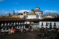Ecuador, Quito, Old City, Plaza San Francisco, Spanish Colonial Architecture