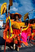 Trinidad, Port Of Spain, Carnival, Parade Of Bands, Local Girls In Costume, Dancing