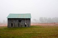 Barn fading in fog, Sauk City, Wisconsin, USA