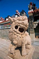 Lion statue in front of a temple, Pak Tai Temple, Cheung Chau, Hong Kong, China