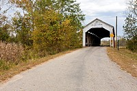 Sim Smith Covered Bridge was built in 1883 to span Leatherwood Creek near Montezuma in Parke County, Indiana, USA