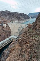 High angle view of a dam, Hoover Dam, Arizona_Nevada Border, USA