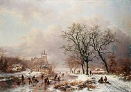 Figures On A Frozen Waterway 2 1867 Frederik Marianus Kruseman 1817_1860 Dutch