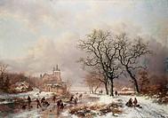 Figures On A Frozen Waterway 2 1867 Frederik Marianus Kruseman 1817_1860 Dutch