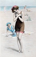 Woman at Beach Nostalgia Cards