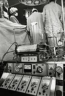 Close_up of a heart_lung machine in an operating room