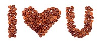 Heart made of coffee
