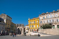 Trg Portarata square Pula the Istrian peninsula Croatia Europe