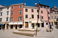 Trg na Lokvi square Rovinj the Istrian peninsula Croatia Europe