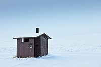 Restroom in a Snowy Landscape