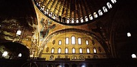 Inside the Hagia Sophia in Istanbul Turkey