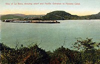 PANAMA CANAL: LA BOCA.View of La Boca, Panama, showing wharf and Pacific entrance to the Panama Canal. Photopostcard, c1910.
