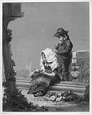CHILDREN'S OFFERING.Steel engraving, English, 19th century, after a painting by Nicolas Edouard Gab� (1814-1865).