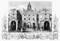 LONDON: HORSE GUARDS.Horse Guards at Whitehall, London, England. Steel engraving, c1850.