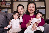 Chinese grandmother, mother, and grandaughters