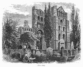 SCOTLAND: KELSO ABBEY.View of the ruins of Kelso Abbey, in the border region of southeastern Scotland. Wood engraving, c1875.