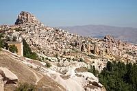 landscape and uchisar village, cappadocia, anatolia, turkey, asia