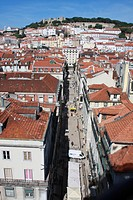 Portugal, Lisbon, View over baixa district with sao jorge castle in background