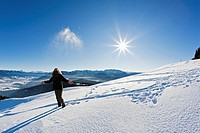 Germany, Bavaria, Blomberg, Woman hiker at Zwiesel mountain throwing snow