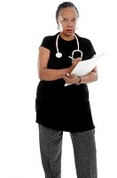 Mature African American Nurse Isolated on White