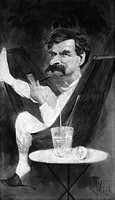 SAMUEL LANGHORNE CLEMENS(1835-1910). 'Mark Twain.'American humorist and writer. Caricature portrait, oil, by Theodore Wust, 1890s.