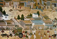 KYOTO: GION FESTIVAL.Vassals of the daimyo (feudal lord) and samurai parade during the Gion Festival. Screen painting, 1750, by Fujiwara Mitsutaka.
