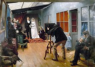 PHOTOGRAPHY STUDIO, c1878.'Wedding Party at a Photographer's Studio.' Oil on canvas, 1878-9, by Pascal Dagnan-Bouveret.