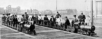 CONEY ISLAND, c1903.People on two miniature trains at Coney Island, Brooklyn, New York. Photograph, c1903.
