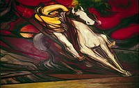 SIQUEIROS: MURAL, 1950s.A mounted Mexican revolutionary. Detail from the mural, 'Revolution Against the Porfirio Dictatorship,' by David Alfaro Siquei...