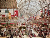 CRYSTAL PALACE, 1851.Interior view of the Crystal Palace, site of the Great Exhibition of 1851, at Hyde Park, London, England. English lithograph, c18...