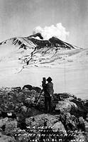 ALASKA: KATMAI VOLCANO.W.A. Hesse filming a Katmai Volcano eruption in Alaska, c1913.